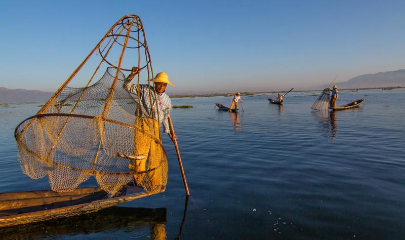 Inle Lake basket fisherman