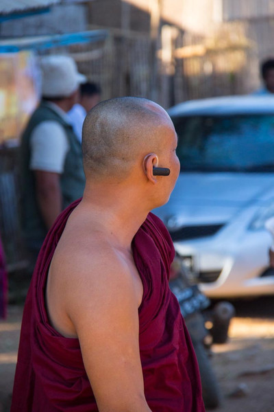 Monk with bluetooth earpiece