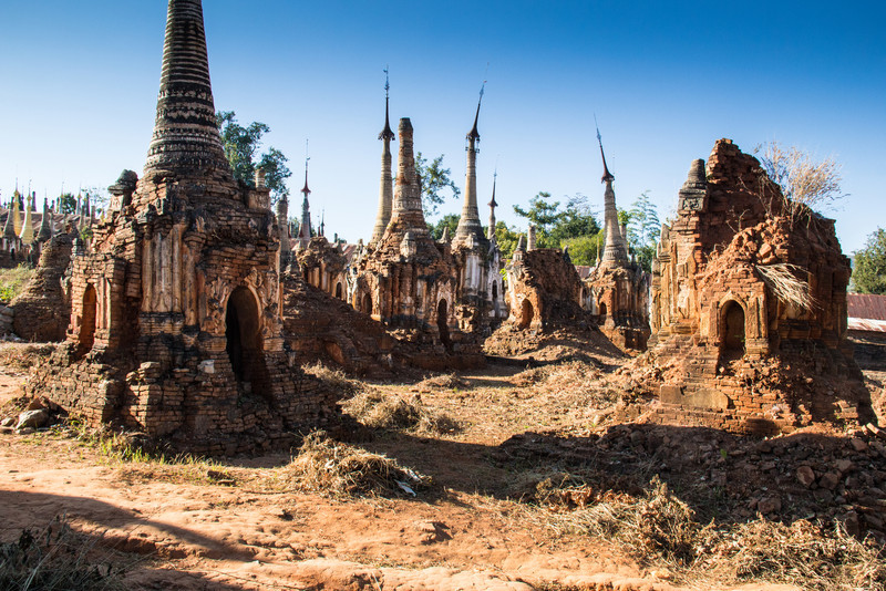 Pagodas in the process of clean up