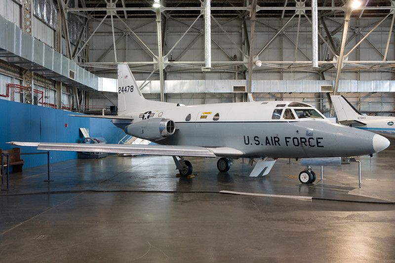 This Sabreliner is parked in the presidential aircraft hangar.