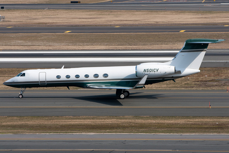 This Gulfstream G-V is destined for the general aviation ramp.