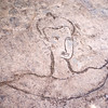 FACE DRAWN BY A CAMBODIAN CHILD. PREAH KHAN. ANGKOR. SIEM REAP. CAMBODIA.
