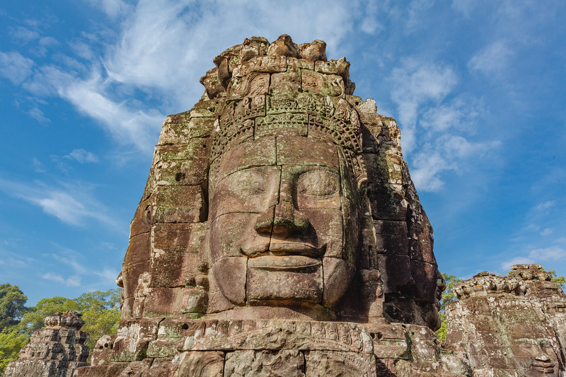 Giant faces on Prasat Bayon temple, Angkor Thom, Angkor, Siem Reap province, Cambodia, Asia