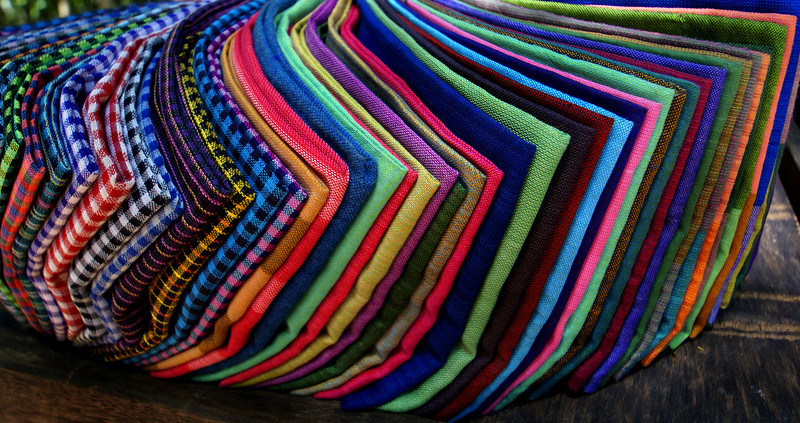 COLOURFUL SCARFS. ANGKOR. CAMBODIA.