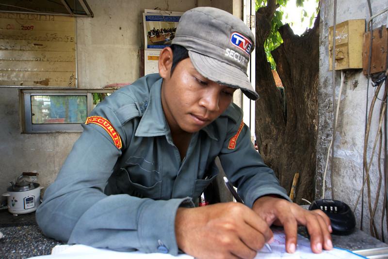 PHNOM PENH. TV3 CAMBODIA. GUARD OF THE STUDIOS.