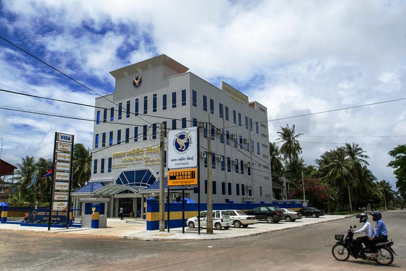 KAMPOT. CENTER. MODERN BANK BUILDING.