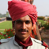 JODHPUR. RAJASTHAN. GUARD OF THE UMAID BHAVAN PALACE.