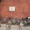 BEIJING. FORBIDDEN CITY. BIKES NEAR THE IMPERIAL CITY ENTRANCE. CHINA.