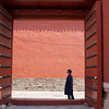 BEIJING. FORBIDDEN CITY. CHINESE MAN IS LOST IN IMPERIAL CITY PALACE. A UNESCO WORLD HERITAGE SITE.