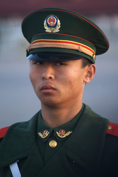 BEIJING. TIANANMEN SQUARE. MILITARY GUARD EARLY MORNING AT THE CHINA NATIONAL FLAG RAISING CEREMONY.