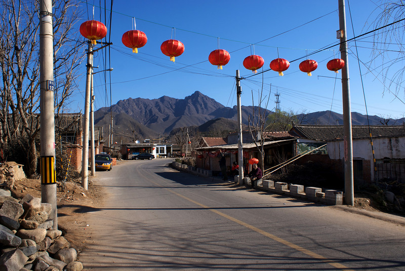 MUTIANYU. STREET VIEW OF A TYPICAL CHINESE TOWN NEXT TO THE GREAT WALL.