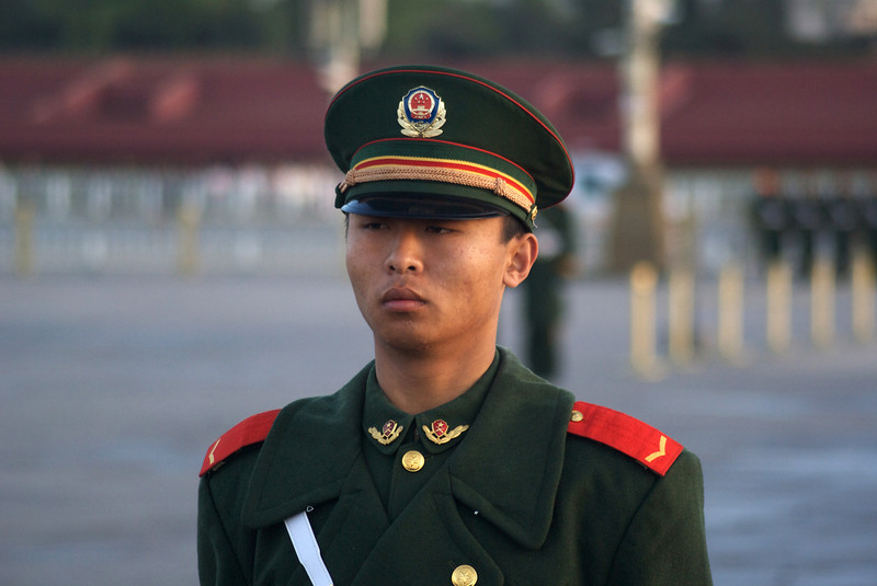 BEIJING. TIANANMEN SQUARE. MILITARY GUARD EARLY MORNING AT THE CHINA NATIONAL FLAG RAISING CEREMONY. [2]