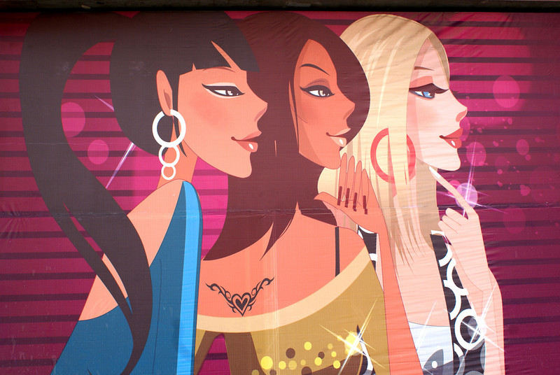 XI'AN. HED KANDI GIRLS MURAL. CHINA.