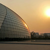 BEIJING. SUNSET AT THE BEIJING CENTER FOR PERFORMING ARTS.  NATIONAL GRAND THEATRE. CHINA.