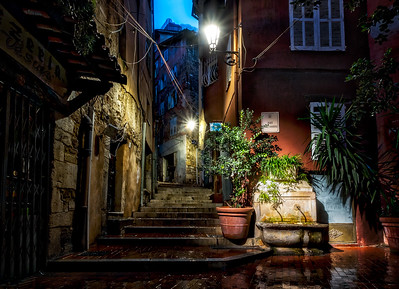 Rain, Fountain, Stairs
