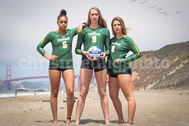 8/17/18: USF WVB Team Shots at Baker Beach in San Francisco, CA.  Image by Chris M. Leung for USF Dons Athletics