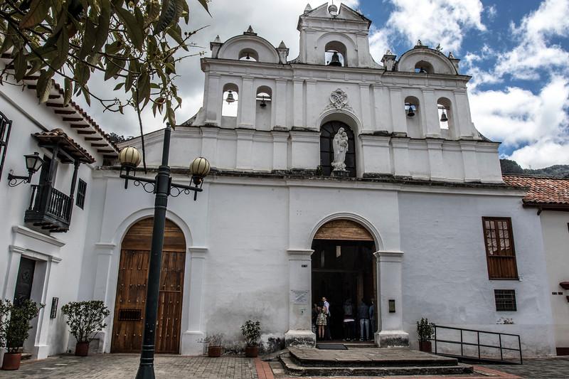 Facade of the Parish of Our Lady of the Waters (Parroquia de Nuestra Senora de las Aguas) in Las Aguas in Bogota, Colombia - South America