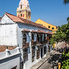 Tower of the cathedral and the old city of Cartagena de Indias, Colombia, South America