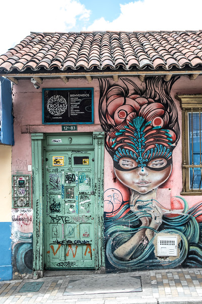 Murals in the Candalaria Barrio in Bogota, Colombia - South America