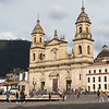 Plaza de Bolivar with the catedral Primada cathedral in Bogota, Colombia, South America