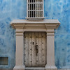 Facade of a blue colonial house in the old town of Cartagena de Indias in Colombia, South America