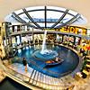 Fisheye view of hotel lobby