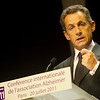 Frence's President Nicolas Sarkozy, addresses the Alzheimer's Association International Conference 2011, in Paris, France, Wednesday, July 20, 2011. (Handout Photo courtsey of Alzheimer's Association/ LUCI PEMONI PHOTO)