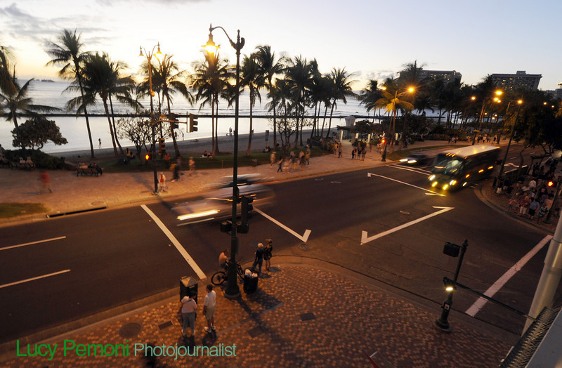 Waikiki Beach at sunset, Saturday, Feb. 27, 2010. LUCY PEMONI PHOTO