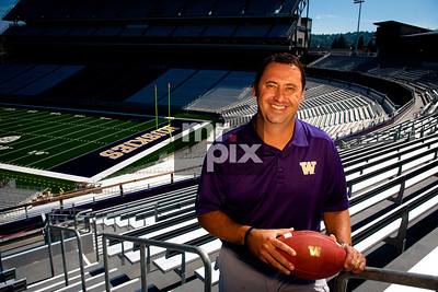 Executive Portraits on location photography. Photo of former UW Head Football Coach Steve Sarkisian