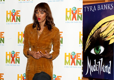 "Author, Creator and Producer of ""America's Next Top Model"" and ""The Tyra Banks Show"", former Victoria Secret Model Tyra Banks promotes her new book ""Modelland"" at Hue-Man Book Store and Cafe in Harlem, New York."