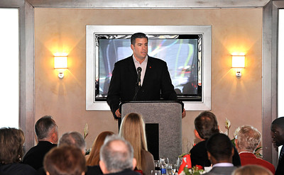 Rutgers Athletic Director Tim Pennetti speaks at the scholarship reception at the Brown's Family Recruiting Pavilion in Piscataway, New Jersey.
