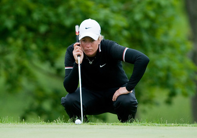 Suzann Pettersen of Norway focuses at the 16th hole during the semifinal round of the 2011 Sybase Match Play Championship at Hamilton Farm Golf Club in Gladstone, New Jersey.