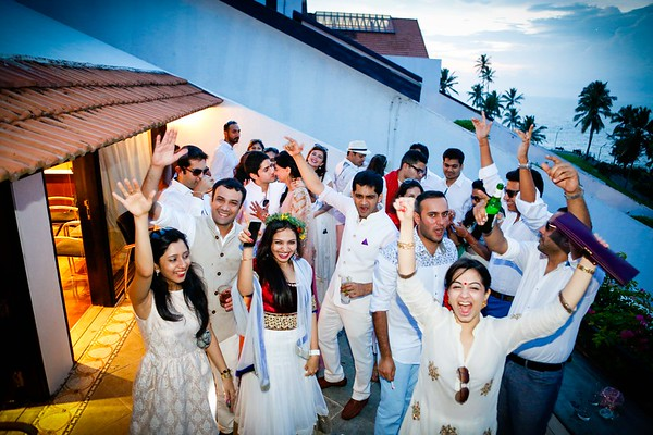 Pritha Agarwal and Haresh Kishor destination wedding is at The Leela Kovalam in Kerala, India on October 13, 2014.  The Sangeet was held on October 12, 2014.