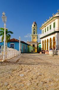 Plaza Mayor and the Antiguo Convento de San Francisco de Asis dating from 1813, Trinidad, Cuba.