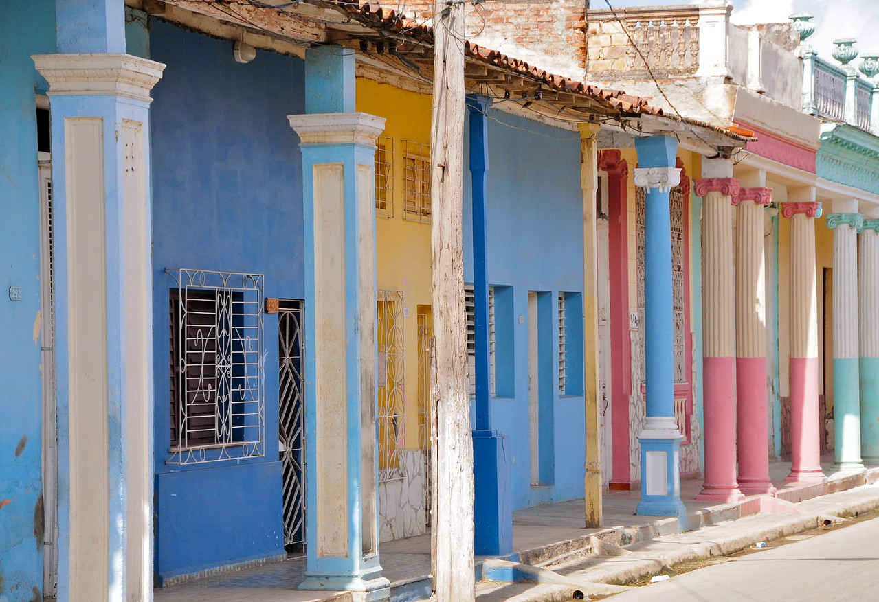 Colorful houses in Moron, Cuba