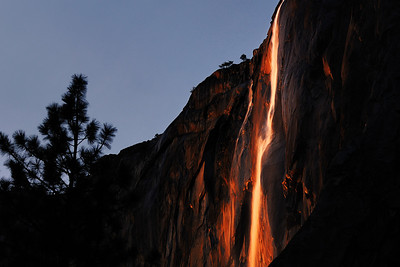Horsetail Falls at Sunset Yosemite Valley