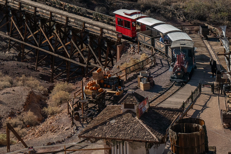 The Calico and Odessa Railroad is one of Calico's rides