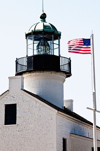 US Flag at Old Point Loma Lighthouse in San Diego California