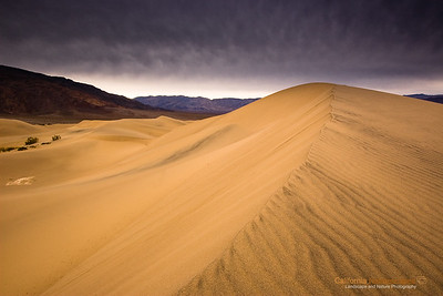 """Mesquite Sand Dunes"" Location: Death Valley National Park, California.  I always wanted to photograph the lines and patterns that form in sand dunes. So when I visited Death Valley I liked this spot from where sharp edges were looking well with the smooth undulations of the dunes and leading quite nicely to the mountains behind.  Tech Info and Tip: Lens: Canon EF 10-22 f/3.5-f/4.5 @ 17mm Camera: Canon EOS 30D Exposure: 1/4sec at f/22 and ISO 100 Filters: SinghRay 3 stop ND Grad Death Valley has such unique landscape that defies imagination. A visit here is the closest thing to vising an alien landscape. It is one of the most popular locations to photograph. Its badlands, sand dunes, salt pans, strange racetracks offer unique opportunities to capture its beauty."