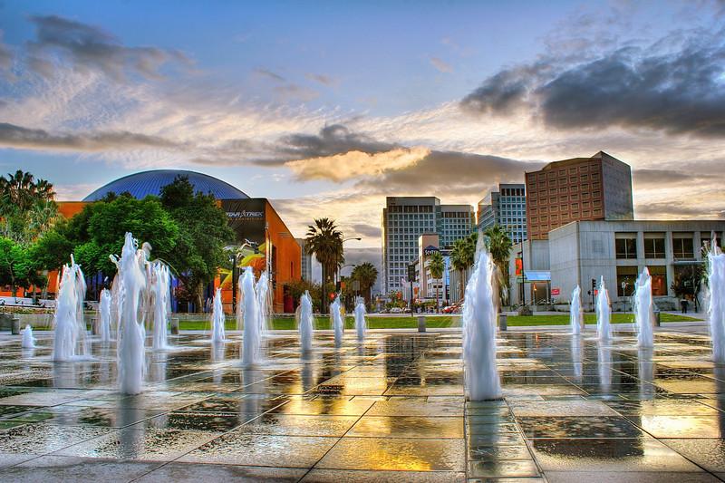 Plaza De Cesar Chavez Park at Dusk - San Jose, Calfornia