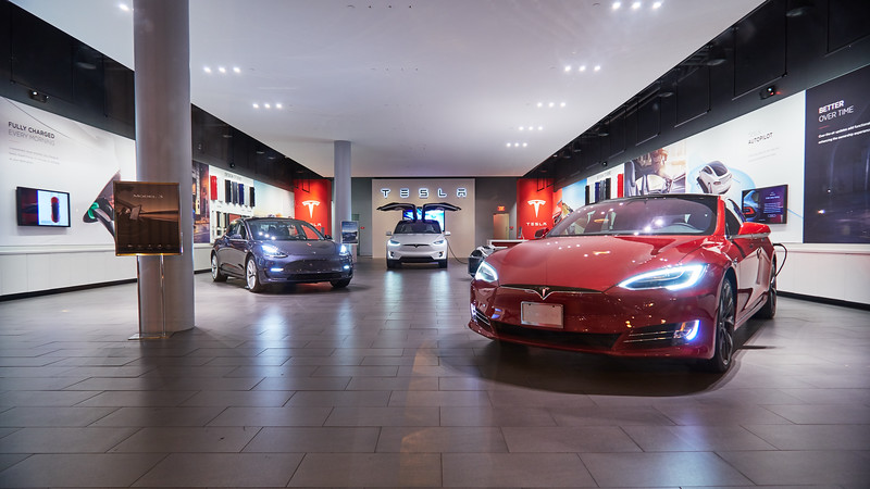 A Tesla Trio, Santana Row - San Jose, California