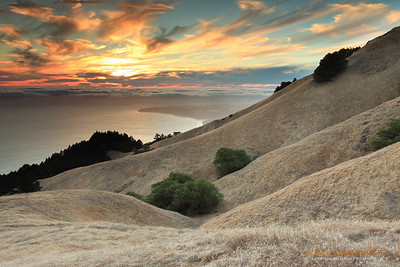 """Rolling Hills of California"" Location: Mt Tamalpais State Park, Marin County, California.  Hiking on the slopes of undulating rolling hills at Mt. Tamalpais State Park has its perks. Here is an image for those who could not witness the beauty of this amazing place.  Tech Info: Lens: Canon EF 17-40mm f/4L @ 30mm Camera: Canon EOS 5D Mk II Exposure: 0.6sec at f/13 and ISO 50 Filters: All the ND Grads I had with me... the dynamic range was too high to be managed with just one filter. Post Processing: Added warm tones by adjusting white balance. Added few more software ND Grads filters. Dust removal and saturation adjustments. San Francisco is a busy metropolitan area but just a few miles to the north exists a place so quiet and unique that it is such a perfect escape from the chaos of the city life. Mt. Tam, as it is locally know, is a perfect vantage point to watch the summer fog rolling into the bay or just enjoy the hike on its undulating hills and redwood forests."