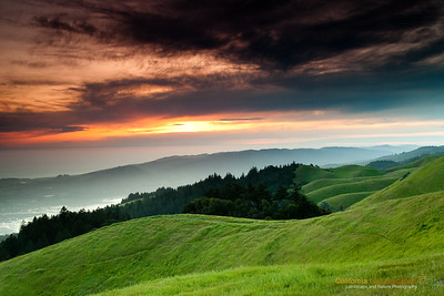"""Mt Tamalpais Sunset"" Location: Mt. Tamalpais, San Francisco, California.  There is nothing better than being on a quiet hillside watching sunset. Fortunately, not far from where I stay, Mt. Tamalpais in San Francisco offers such a vantage point. So when the lighting conditions were just right I decided to capture this view forever.  Tech Info and Tip: Lens: Canon 17-40mm f/4L @40mm Camera: Canon 5D Mk II Exposure: 6/10sec at f/13 and ISO 200 Filters: SinghRay 2 stop hard edge and 3 stop hard edge ND filters stacked together  The grass is green for a very short time of the year. But golden grass on the hills look equally good. I am hoping to return to this spot again next year and try some of those shots.  San Francisco is a busy metropolitan area but just a few miles to the north exists a place so quiet and unique that it is such a perfect escape from the chaos of the city life. Mt. Tam, as it is locally know, is a perfect vantage point to watch the summer fog rolling into the bay or just enjoy the hike on its undulating hills and redwood forests."