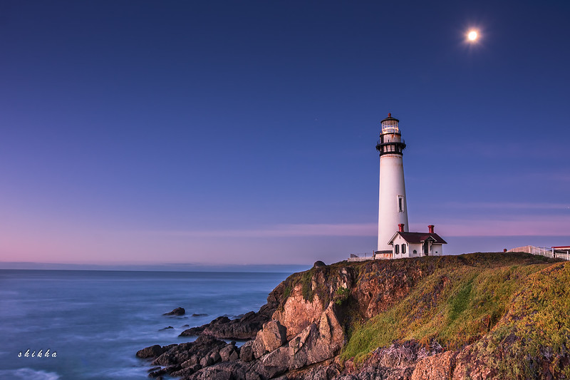 """Pigeon point lighthouse - Had to drive for 1.5 hours in the dark on winding roads of Highway 1 to reach here before sunrise. But it was worth it. At this time it is still dark, the moon will set in an hour. The camera however captures some colors even at this time. This place is so desolate that when I arrived here, felt eerie with waves crashing and no one to be seen around. Initial instinct was like """"go back"""" !!. But then as I stayed, I was soaked in the bliss and solitude."""
