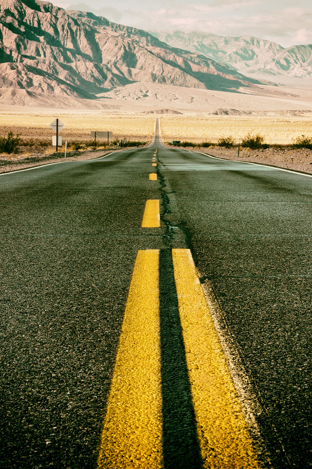 Highway through Death Valley (Death Valley National Park)