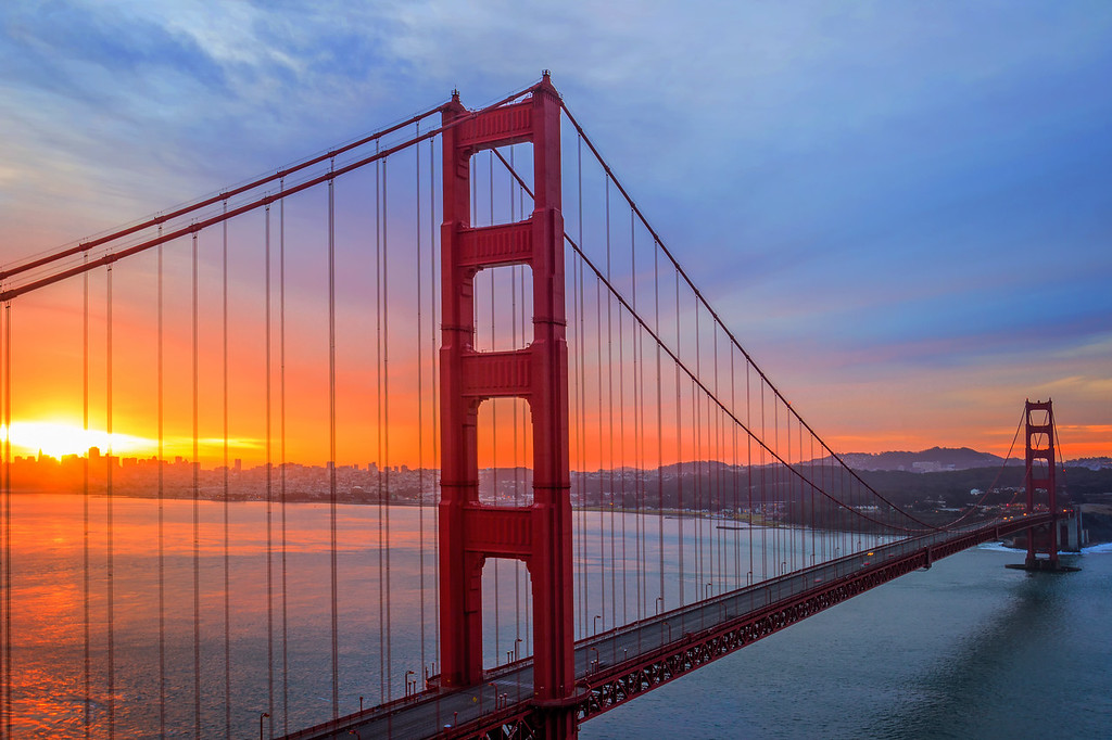 Golden Gate Bridge at Sunrise (San Francisco, California)