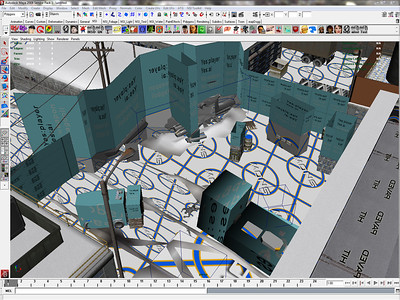 Collision work in the Maya viewport of our proprietary editor called Ntropy. This is a view of the starting area of Three Point Landing.