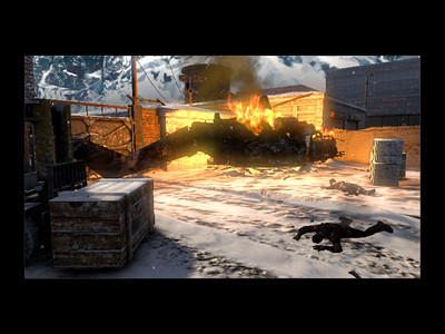 Story element: This was to be a revisit to Mt. Yamantau to destroy the Nazi revamp of Project Nova. However, the helicopter that the player character was on crashed and he jumps out in the last second.   Here is the start of the Operation, Russian troops investigating the wreckage. The player heads in to proceed with the operation.