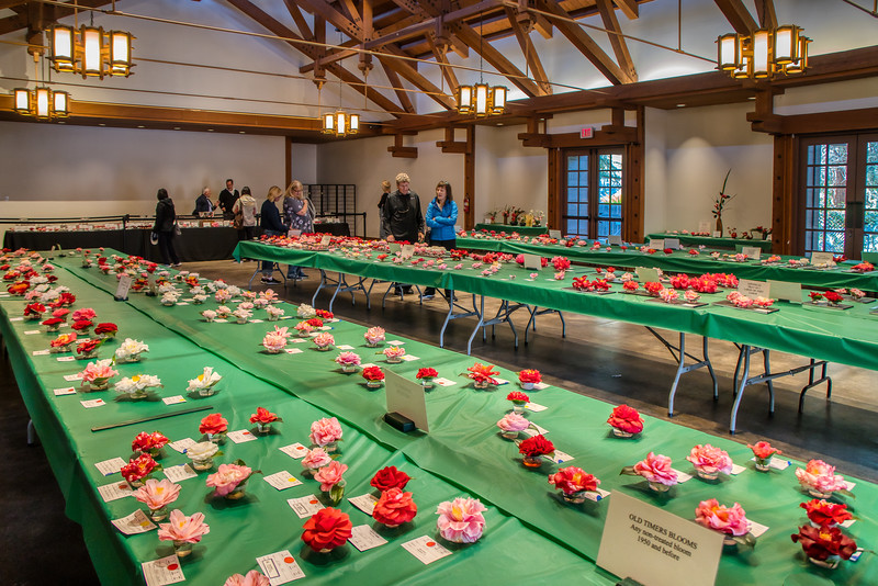 The hall housing the Camellia Show at Descanso Gardens
