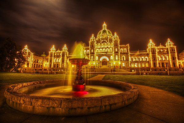 Victoria BC Parliament Buildings at Night